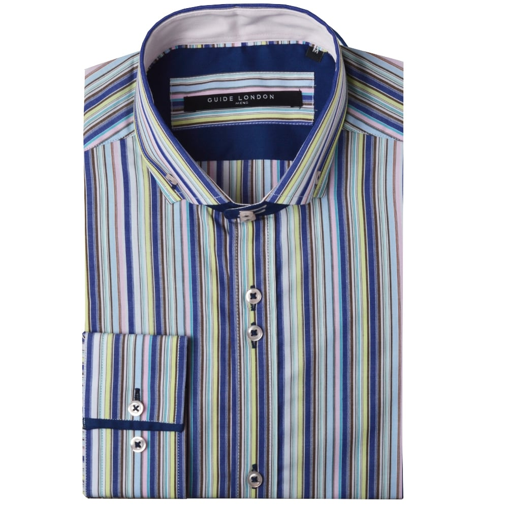 Guide London Shirts Mulberry Stripe LS73191| The Shirt Store
