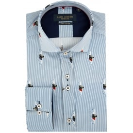 Stripped Cotton Sateen Mens Shirt with a Pug
