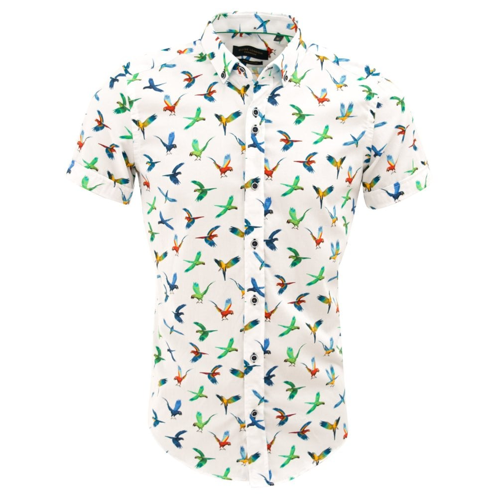 841b1a09b White Cotton Colourful Parrot Print Mens Short Sleeve Shirt