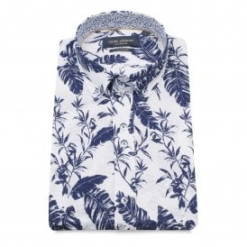 643e9039ca6 White Navy Feather Print Pure Cotton Short Sleeved Men s Shirt