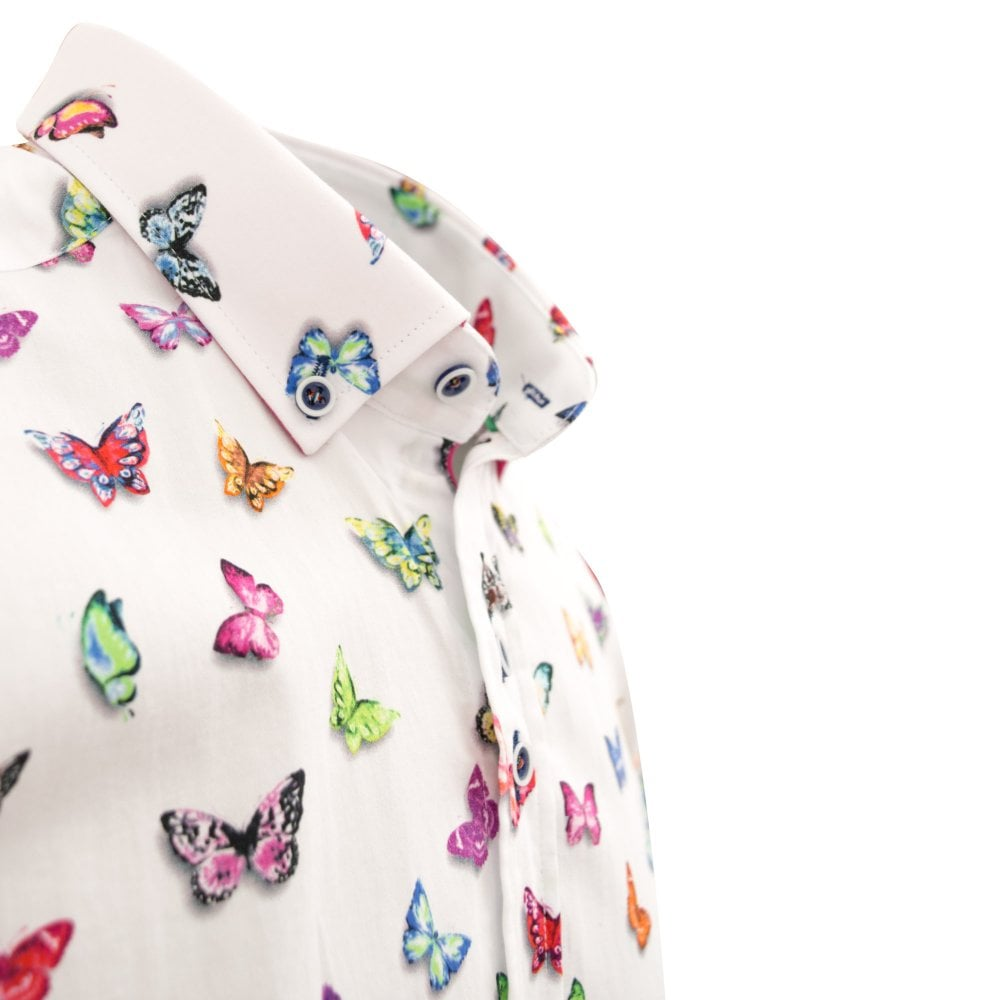 3d70591b554 White Vibrant Butterfly Print Cotton Mens Short Sleeve Shirt