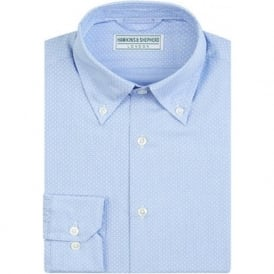 Luxury Handmade Blue Polka Dot Mens Shirt