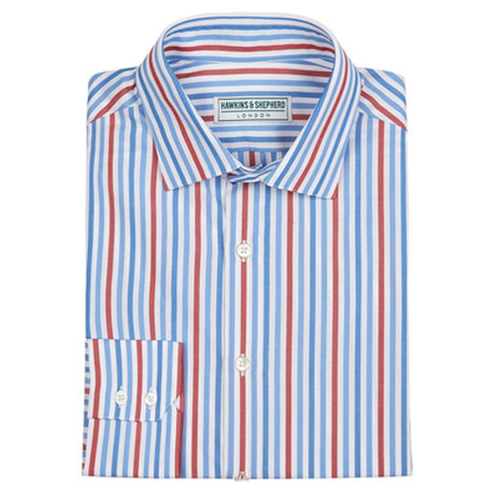 Handmade mens shirts hawkins and shepherd the shirt store for Red blue striped shirt