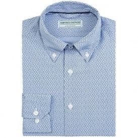 Luxury Handmade Blue Star Print Mens Shirt