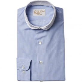 Luxury Handmade Blue Stripe Mens Shirt
