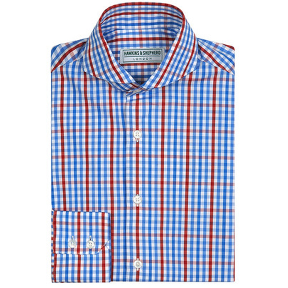 Hawkins and shepherd shirts pin collar shirts the shirt for Mens blue gingham shirt
