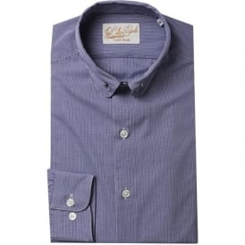 Luxury Handmade Navy Check Pin Collar Mens Shirt
