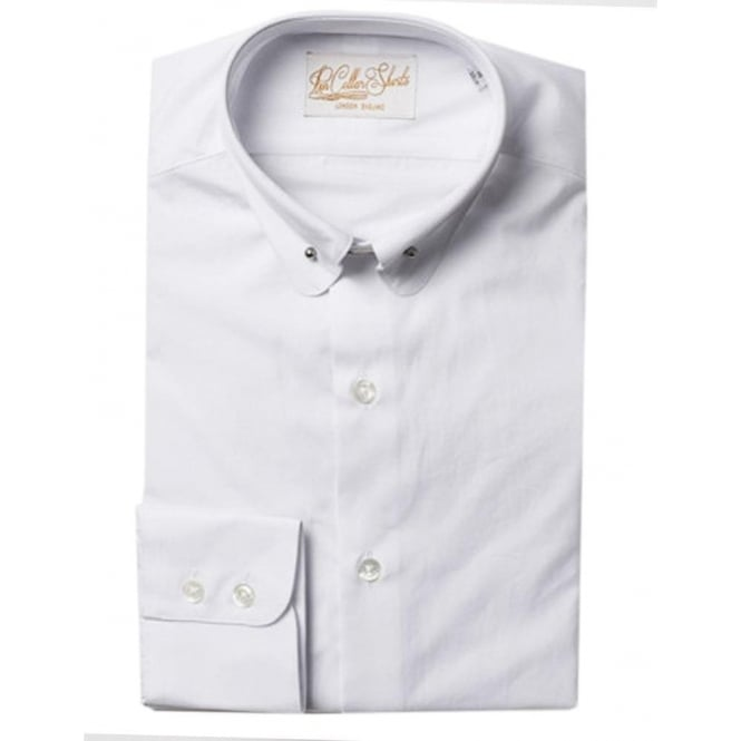 Hawkins & Shepherd Luxury Handmade White Pin Collar Mens Shirt
