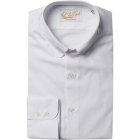 Luxury Handmade White Tab Collar Mens Shirt