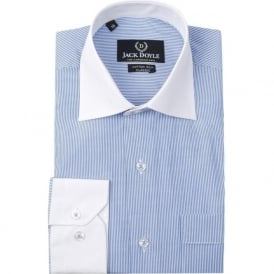 Blue Contrast Collar Stripe Mens Shirt