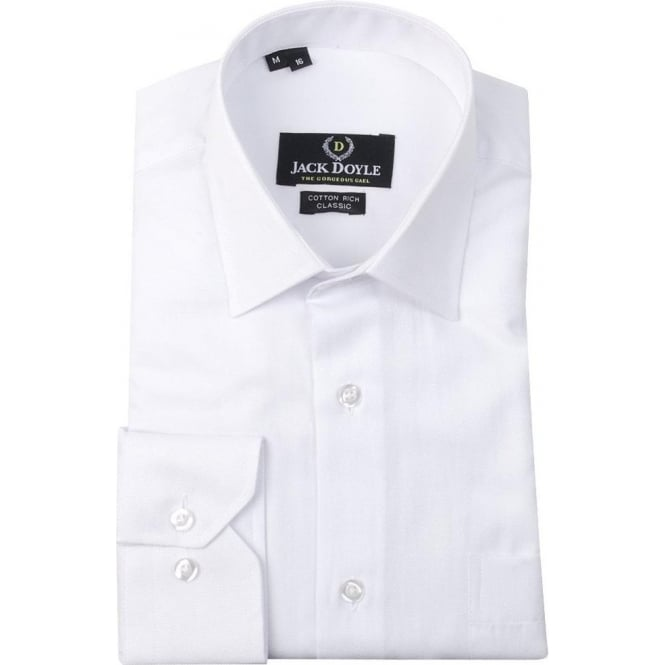 JD Shirts Classic Plain woven Shirt in White