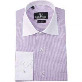 Lilac Contrast Collar Stripe Mens Shirt