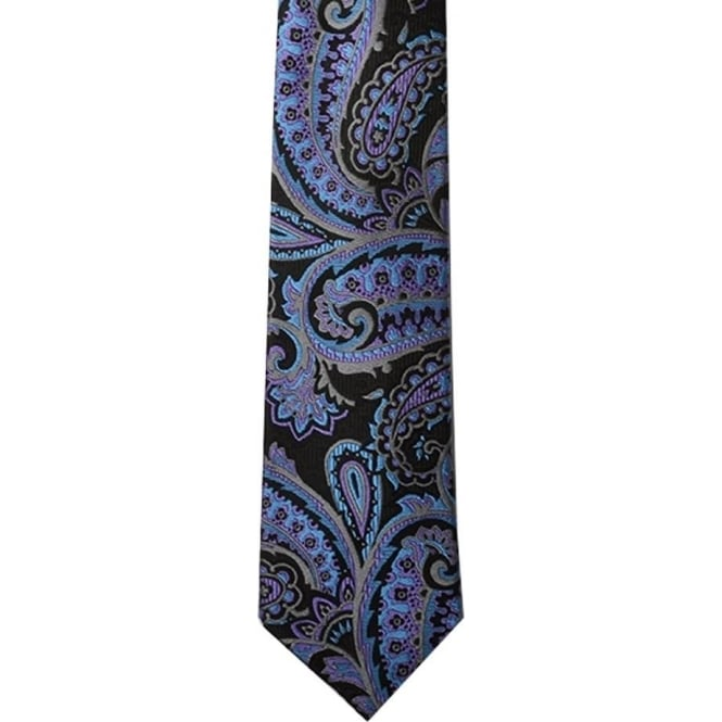Knightsbridge Black/Blue Paisley Silk Tie