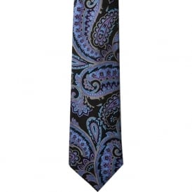 Black/Blue Paisley Silk Tie