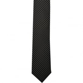 Black Pin Dot Skinny Silk Tie