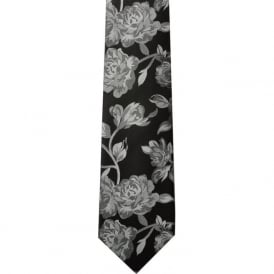 Black/Silver Rose Silk Tie