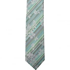 Green/Aqua Stripes/Floral Silk Tie