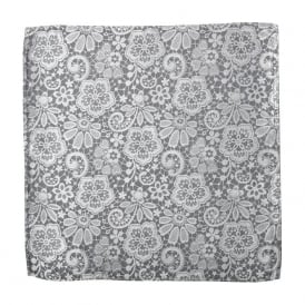 Metallic Silver Lace Silk Pocket Square
