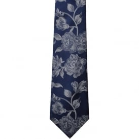 Navy/Silver Rose Silk Tie
