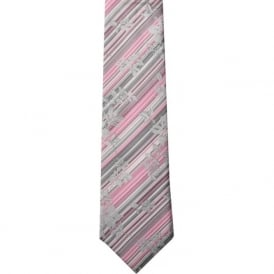 Pink/Grey Stripes/Floral Silk Tie