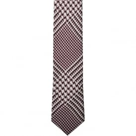 Purple/White Houndstooth Skinny Silk Tie