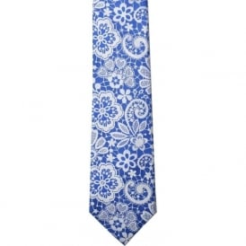 Royal Blue / Metallic Silver Lace Silk Tie