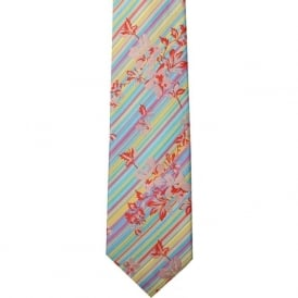 Turquoise/Pink/Yellow Stripes/Floral Silk Tie
