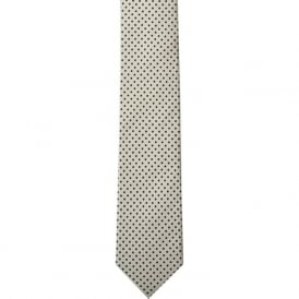 White Pin Dot Skinny Silk Tie