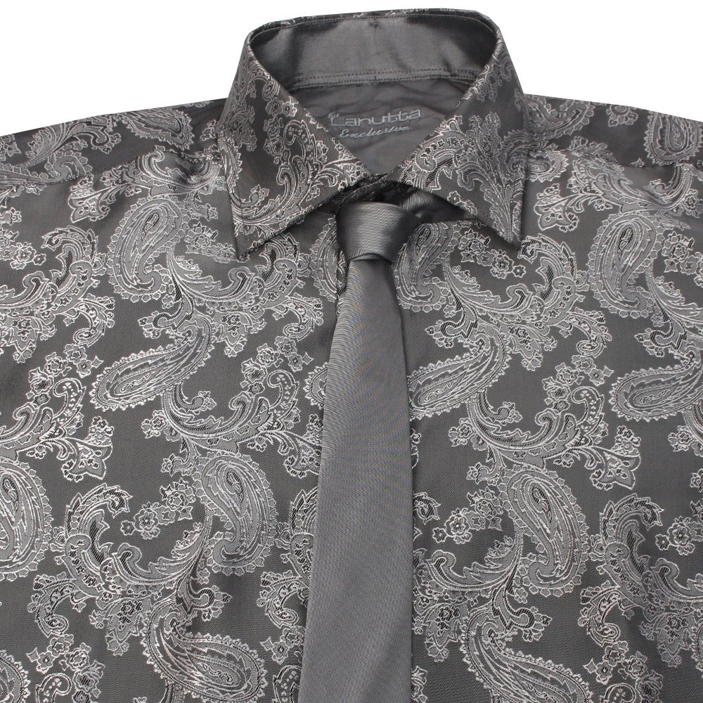b7d2eb88c63 Mens Shirt and Tie Set in Green with Silver Paisley