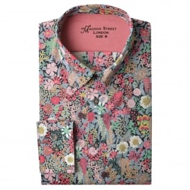 Candy Pink Floral Mens Shirt