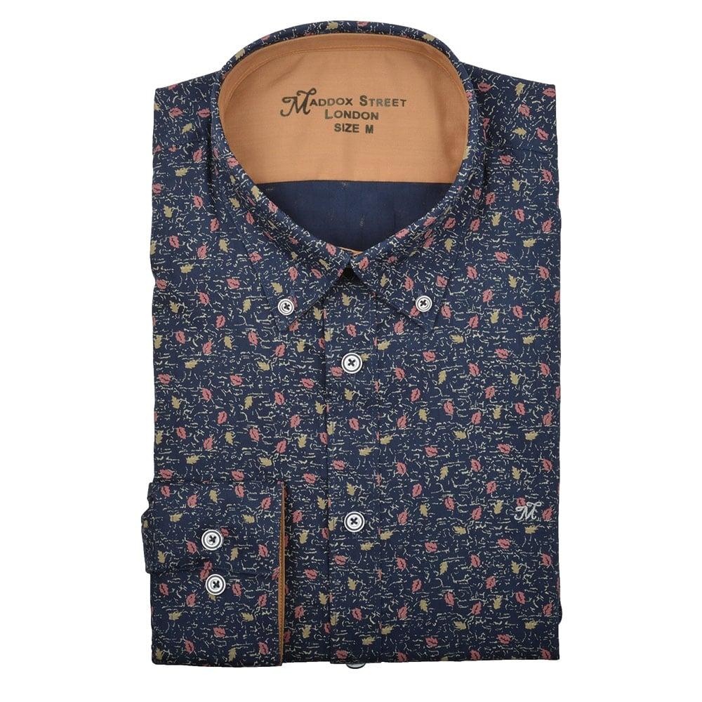 Maddox street navy floral print mens shirt m37mw10n the for Flower print mens shirt