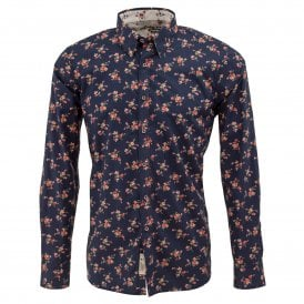 Navy Floral Print Mens Shirt