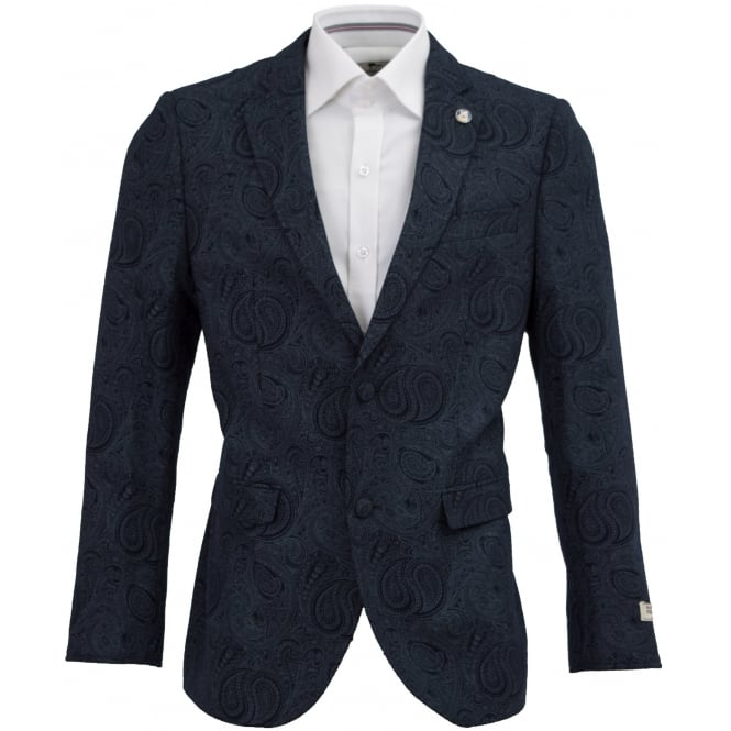 Maddox Street Tailored Paisley Wool Blazer