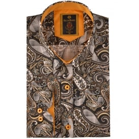 Black Paisley Print Mens Shirt