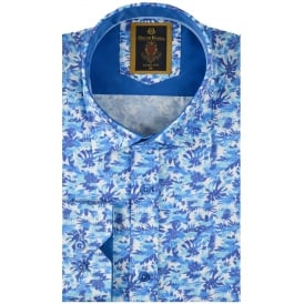Blue Floral Print Mens Shirt