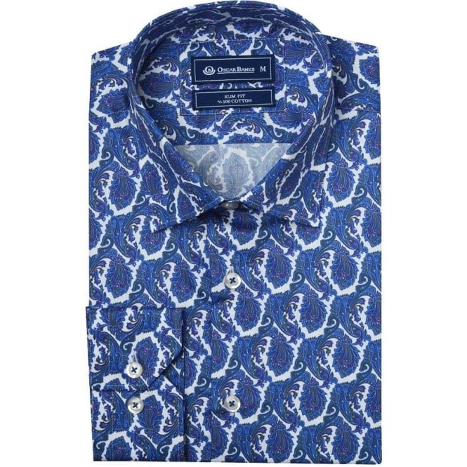 Oscar Banks Brocade Print Mens Shirt
