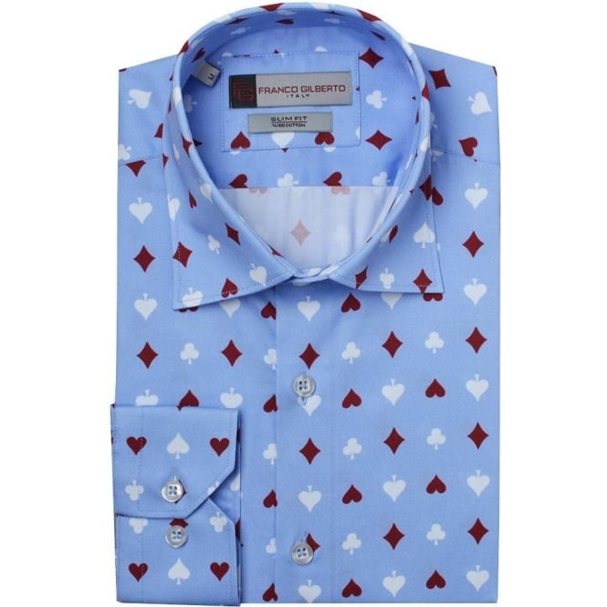 Oscar Banks Card Suit Print Mens Shirt