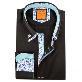 Cotton Double Collar Floral Trim Mens Shirt
