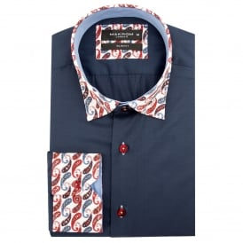 Cotton Paisley Collar and Cuff Mens Shirt