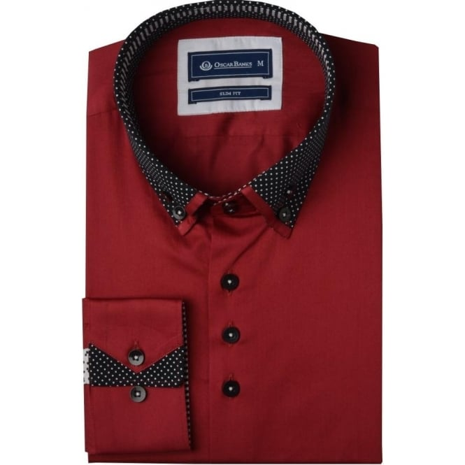 Oscar Banks Dotted Patterned Double Collar Mens Shirt