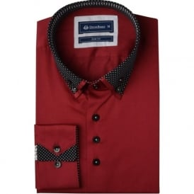 Dotted Patterned Double Collar Mens Shirt