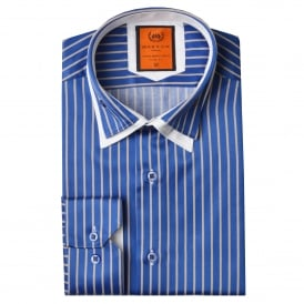 Double Collar Pinstripe Mens Shirt