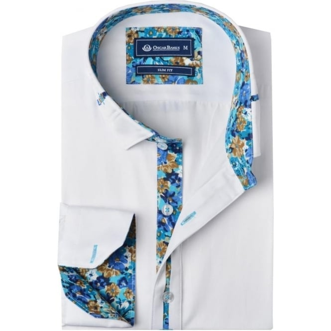 Oscar Banks Floral Trim Collar Mens Shirt