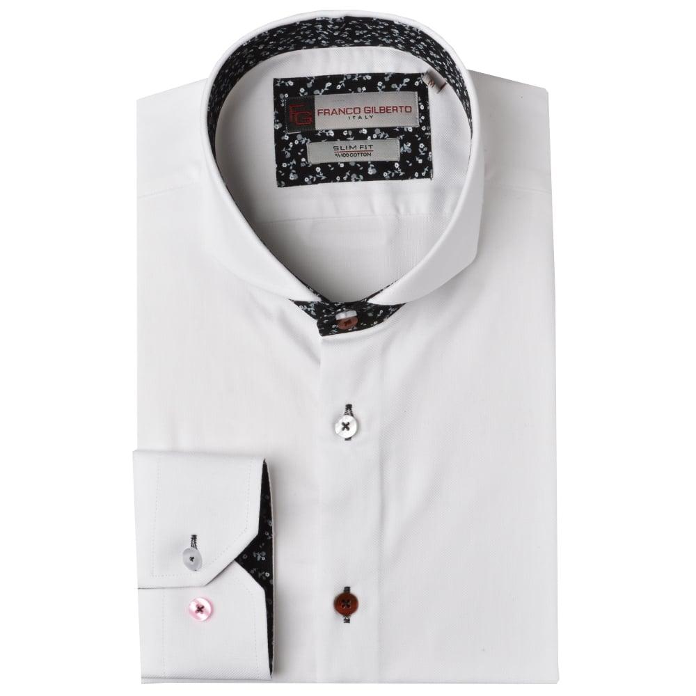 65f5f7049e4a Floral Trim Cutaway Collar Mens Shirt by Oscar Banks The Shirt Store