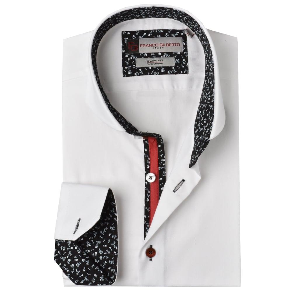 Floral Trim Cutaway Collar Mens Shirt By Oscar Banksthe Shirt Store
