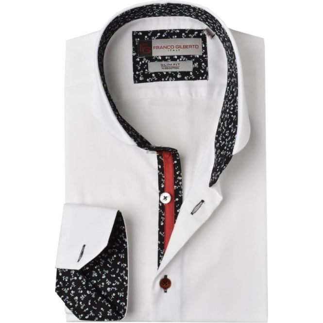 Oscar Banks Floral Trim Cutaway Collar Mens Shirt