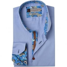 Floral Trim Cutaway Collar Mens Shirt