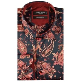 Gold Paisley Satin Mens Shirt