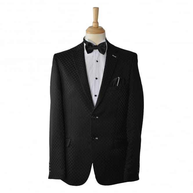 Oscar Banks Mens Delux Black Check Mens Blazer