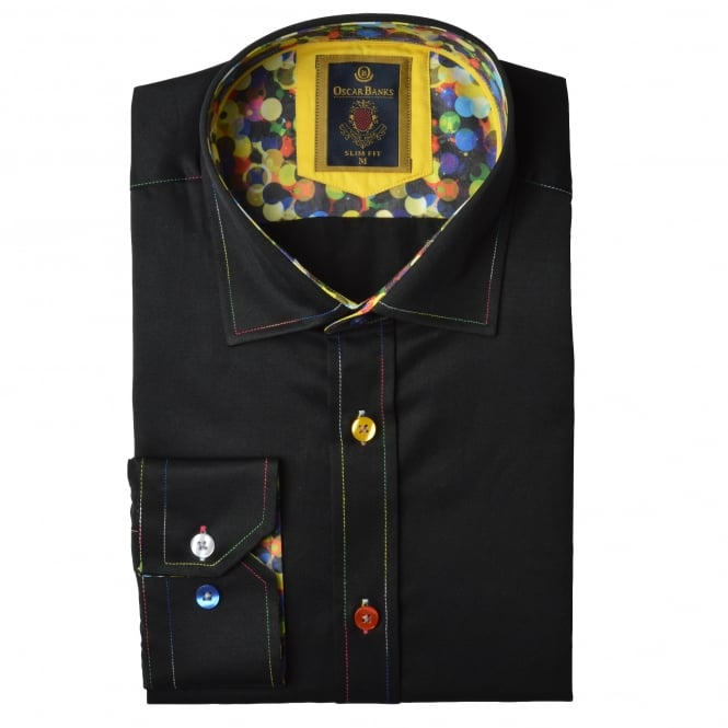 Oscar Banks Multi Coloured Stitch Bubble Trim Mens Shirt